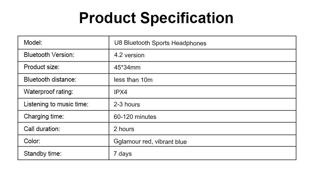 New U8 Wireless Bluetooth Headset, Hanging Ear Running Universal Headphone, Waterproof Earphone 6