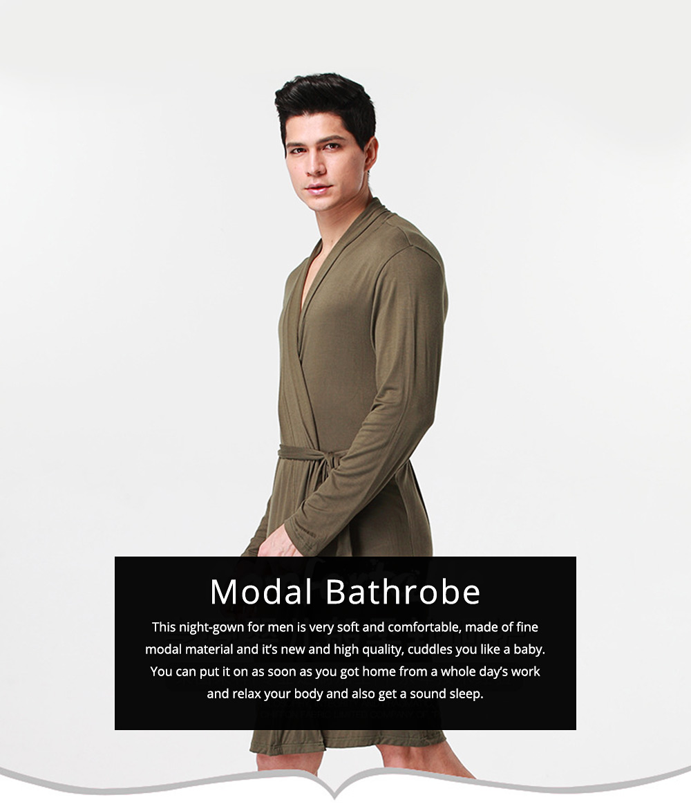 Modal Night-gown for Men Comfortable Slippy Material Big and Tall Sexy Bathrobe Sleepwear with Belt for Summer 0