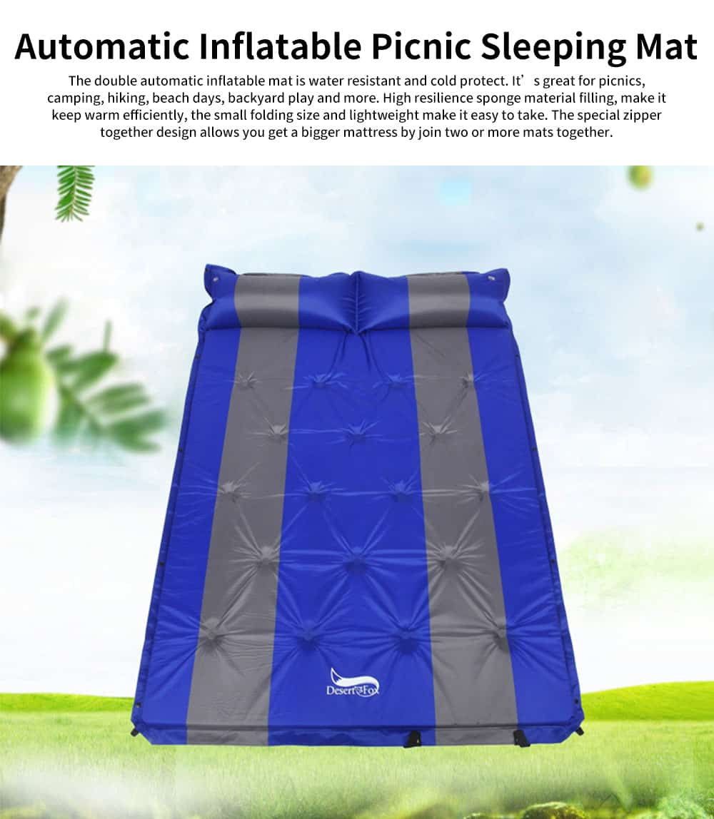 Double Automatic Inflatable Picnic Sleeping Mat with Pillows, Water Resistant & Cold Protection Sleeping Cushion 0