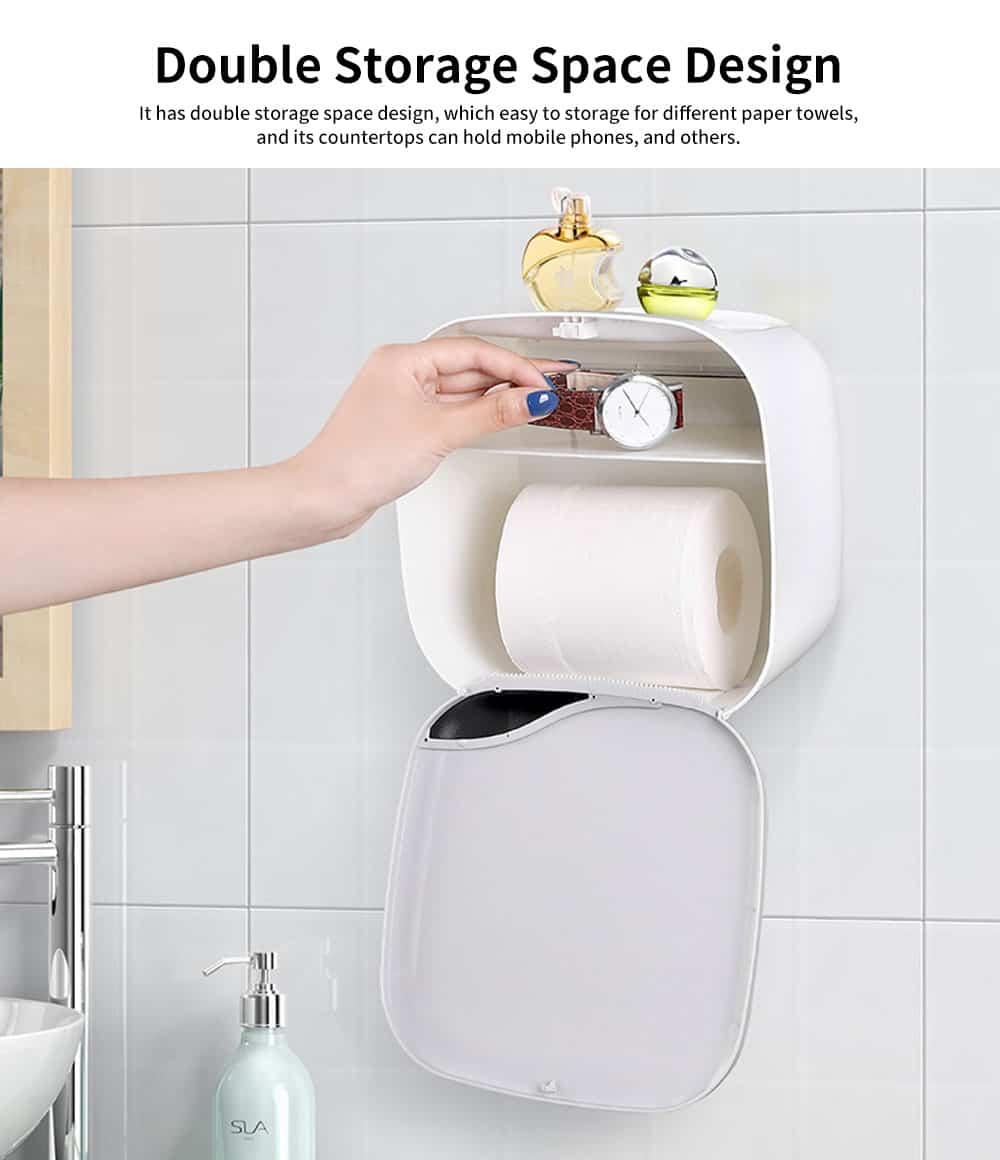 Bathroom Tissue Box, Punch-free Roll Paper Storage Box, with Convenient Type Spring Lock Design 2