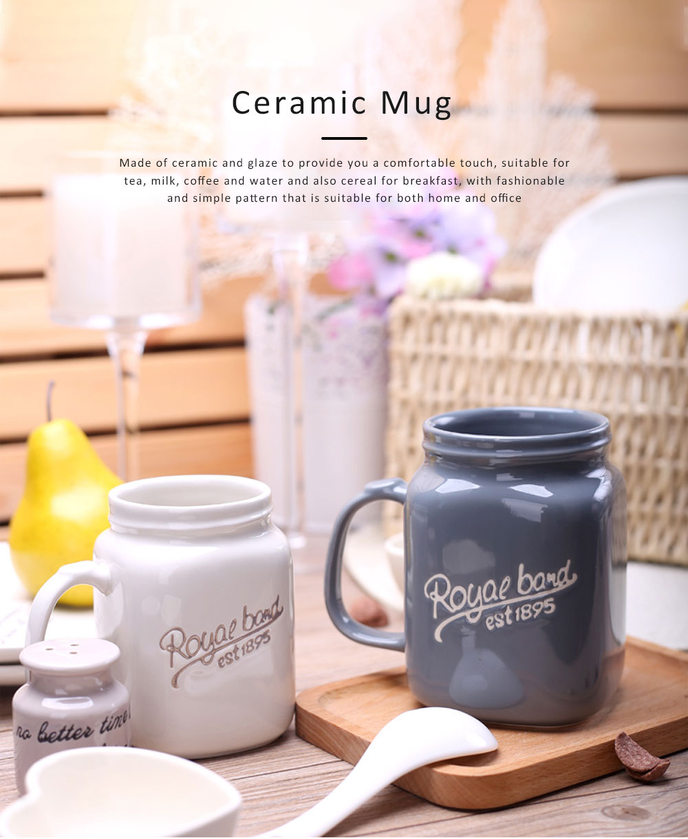 2 Pack Ceramic Mug Cup with Glaze for Tea, Milk, Coffee, Water, Breakfast Cup for Cereal, Water Mug with Big Capacity 0