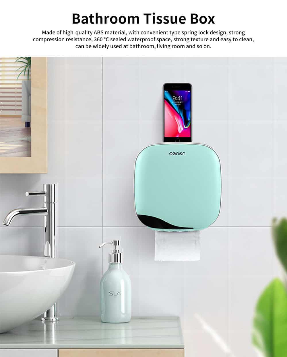 Bathroom Tissue Box, Punch-free Roll Paper Storage Box, with Convenient Type Spring Lock Design 0