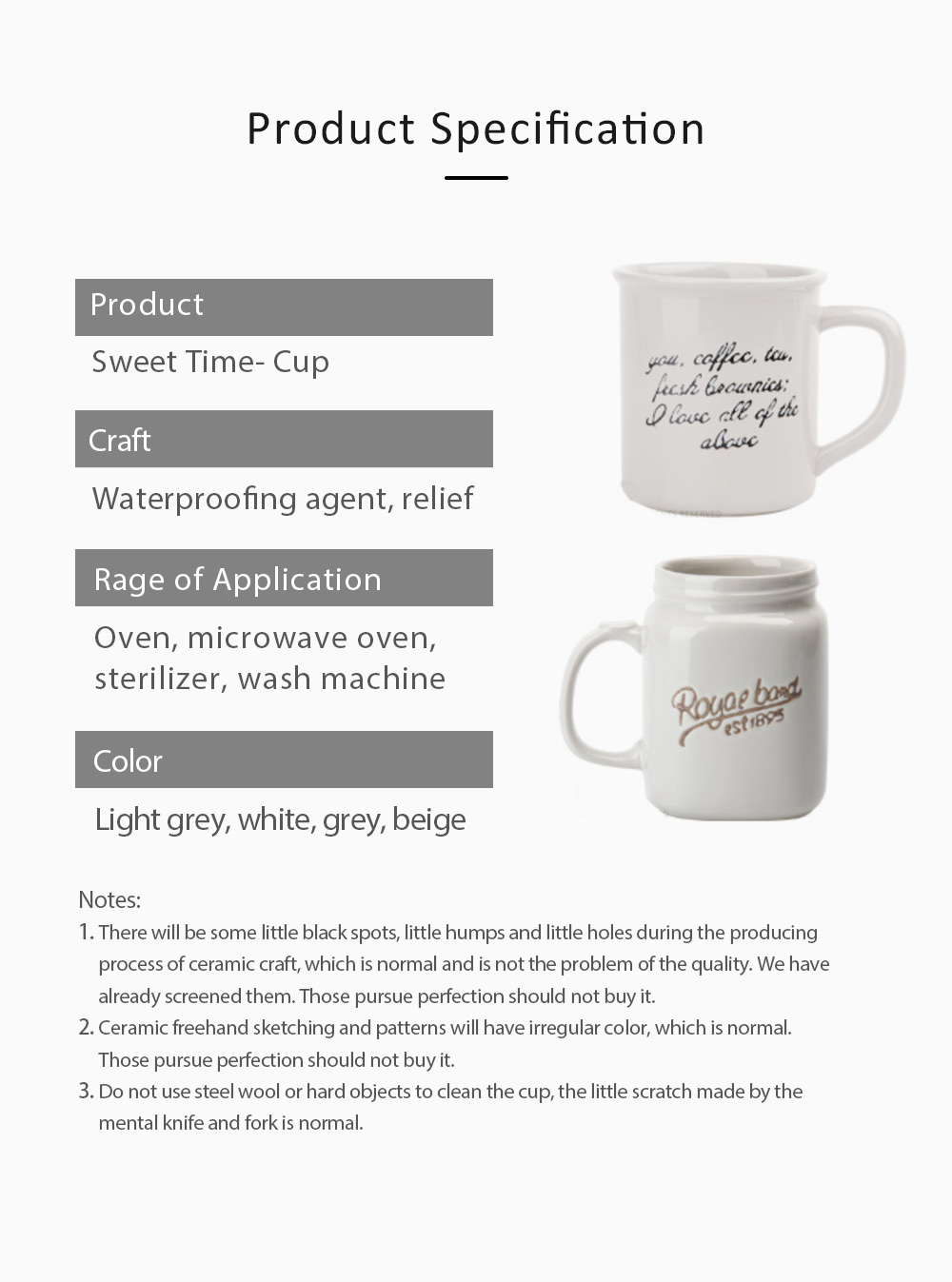 2 Pack Ceramic Mug Cup with Glaze for Tea, Milk, Coffee, Water, Breakfast Cup for Cereal, Water Mug with Big Capacity 6