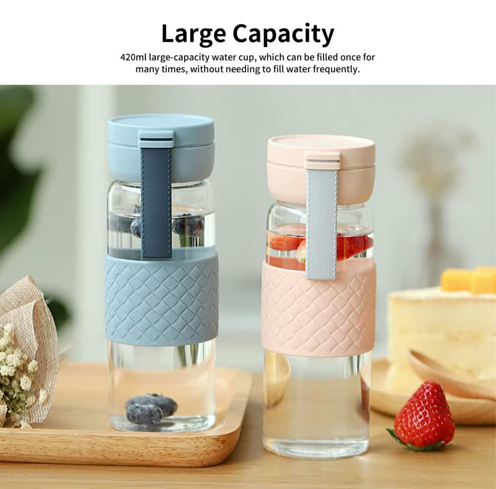 Creative Transparent Glass Cup, Fresh and Lovely Portable Cup for Students, Silicone Leather Grain Glass Cup 5
