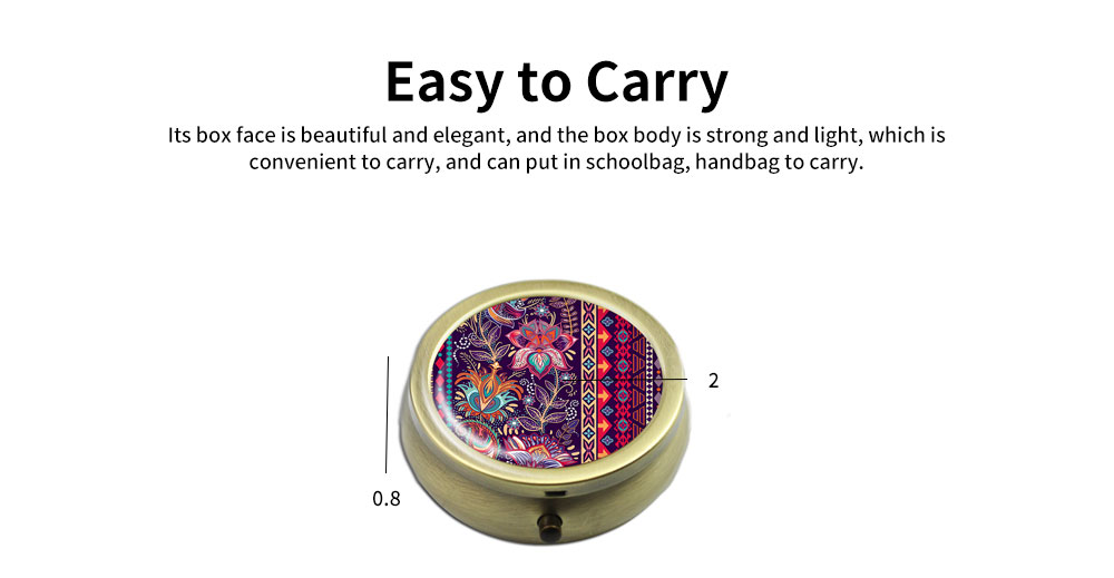 Metal Alloy Mini Portable Small Pill Box, Jewelry Storage Container, with a Variety of Unique Pattern 4