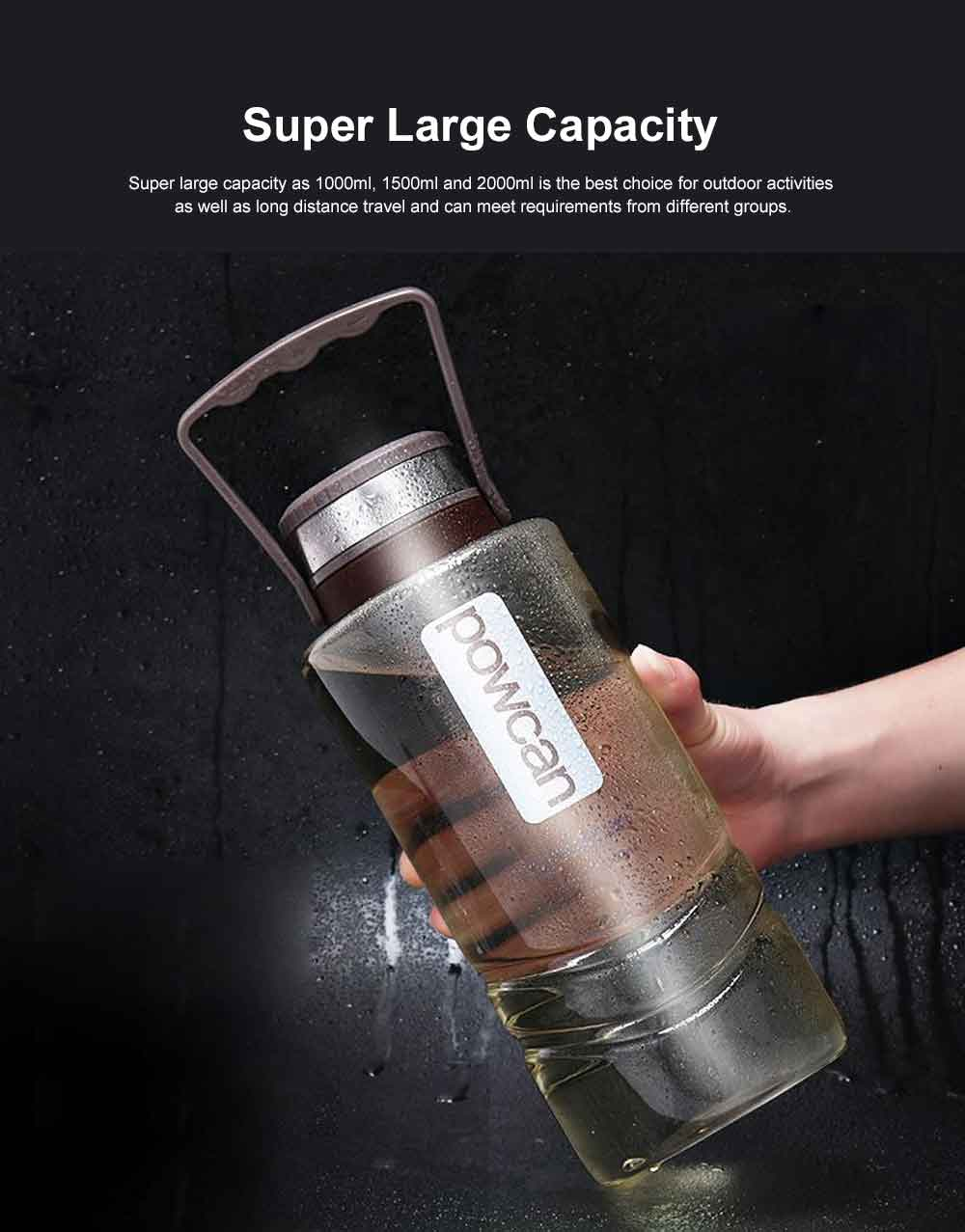 Plastic Space Bottle for Outdoor Sports Super Large Capacity Water Cup Big Size Sports Use Water Cup Brand Powcan Capacity 1000/1500/2000ml 1
