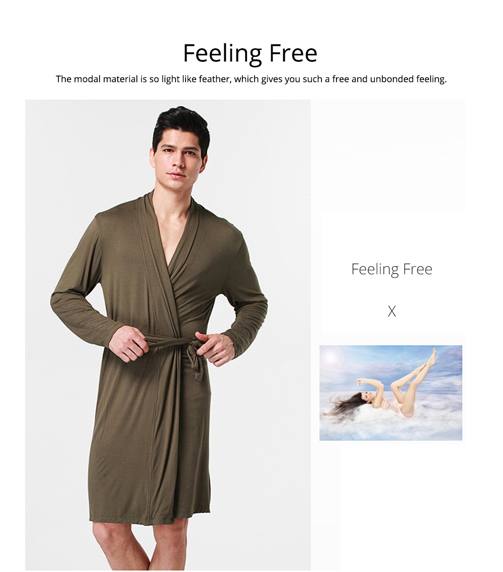 Modal Night-gown for Men Comfortable Slippy Material Big and Tall Sexy Bathrobe Sleepwear with Belt for Summer 4