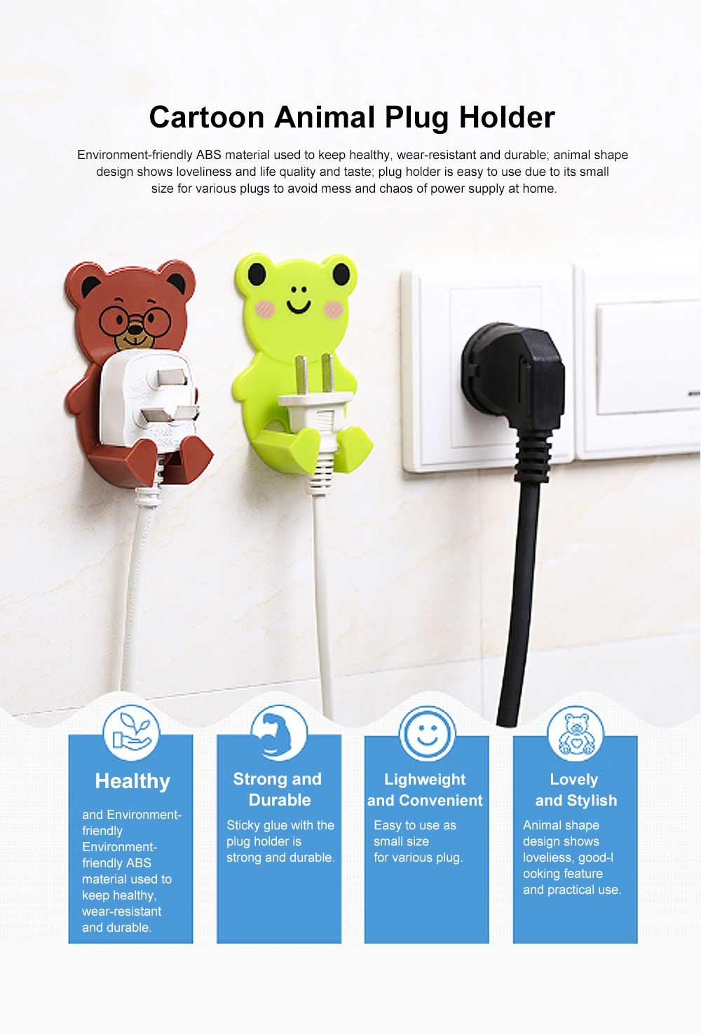 Cartoon Animal Plug Holder for Kitchen Power Supply Sticky Hook for Plug Lovely Animal Shape Wall-mounted Sticky Plug Holder Household Plug Storage Helper 0