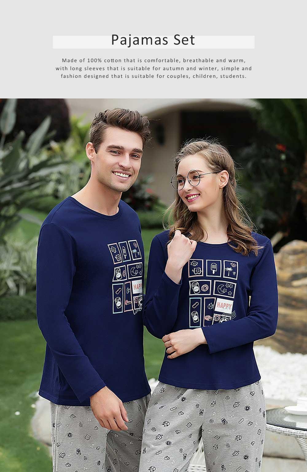 Pajamas Set for Couple, Long Sleeve Pajama for Autumn and Winter, 100% Cotton Homewear Set, Simple Designed Sleepwear Set 0
