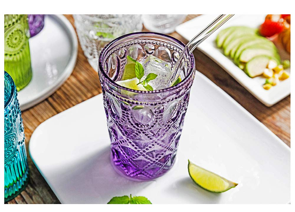 Retro Relief Water Glass Creative Sunflower for Drink Lead-free Juice glass Red Wine Cup 9