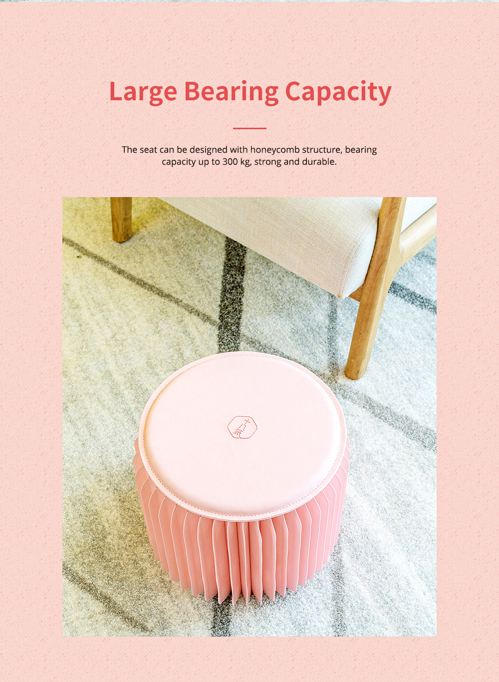 Waterproof Kraft Stool for Ladies Foldable Portable Kraft Stool with High Load Bearing Capacity Coral Pink 3