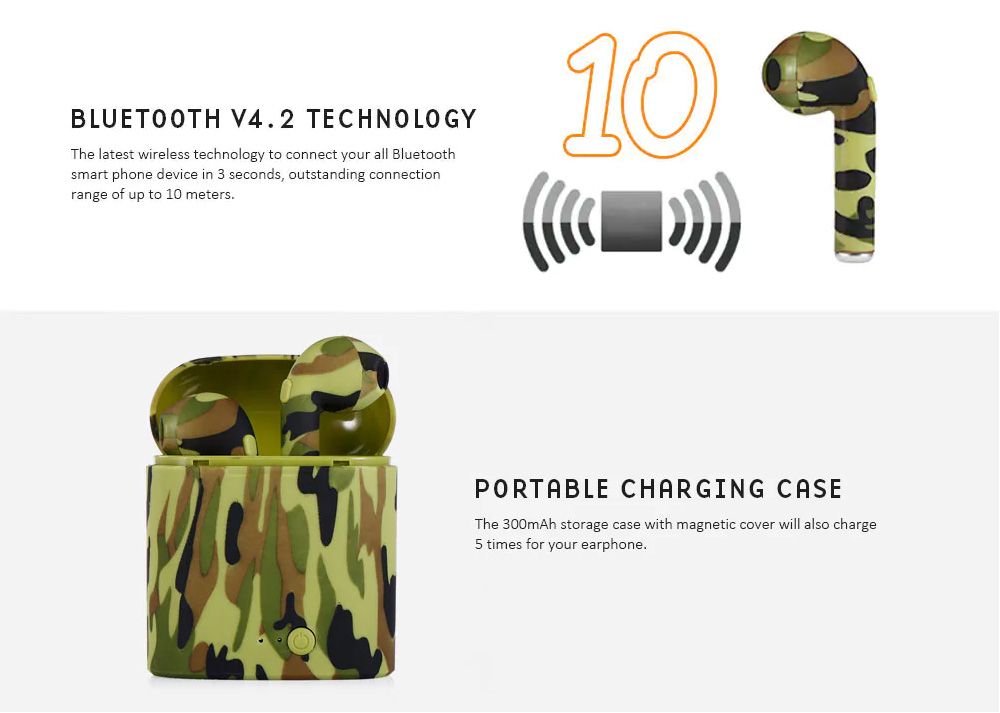 For Apple Airpods i7s Camouflage TWS Bluetooth Earbuds Wireless Headphone Headsets In Ear Mini Earphone 2
