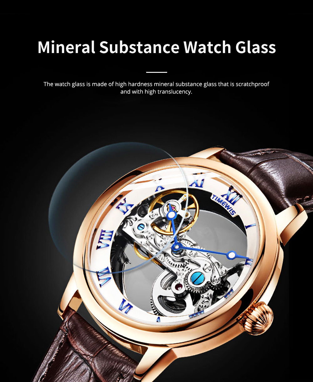 Waterproof Mechanical Watch for Men Transparent Fashionable with Leather Band Strap Scratchproof 3
