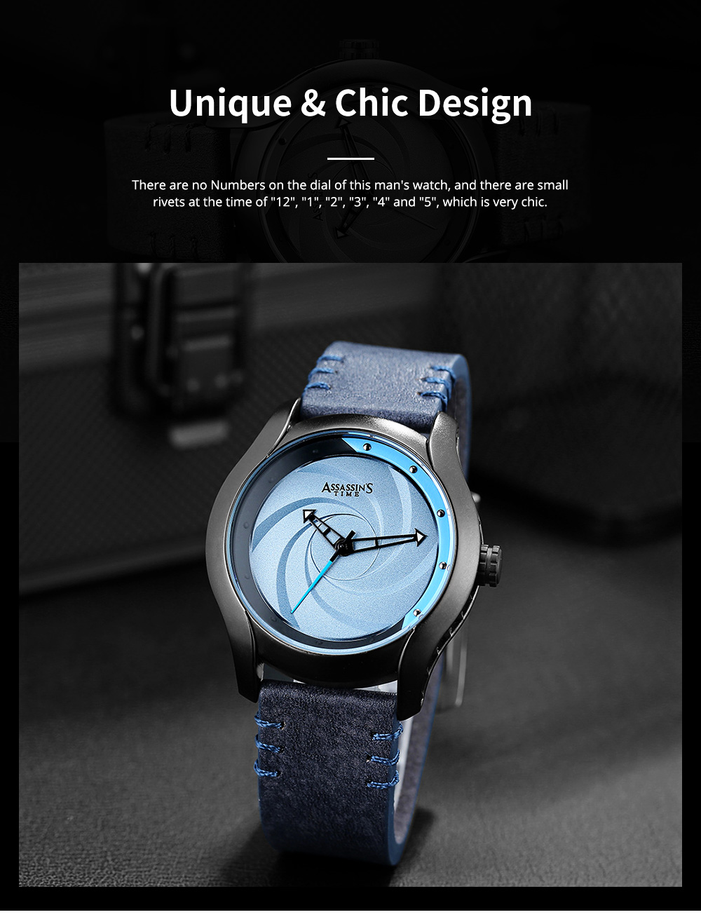 Chic Wrist Watch with Leather Belt for Men Unique Personality Tornado Design Dial Waterproof Watch 5