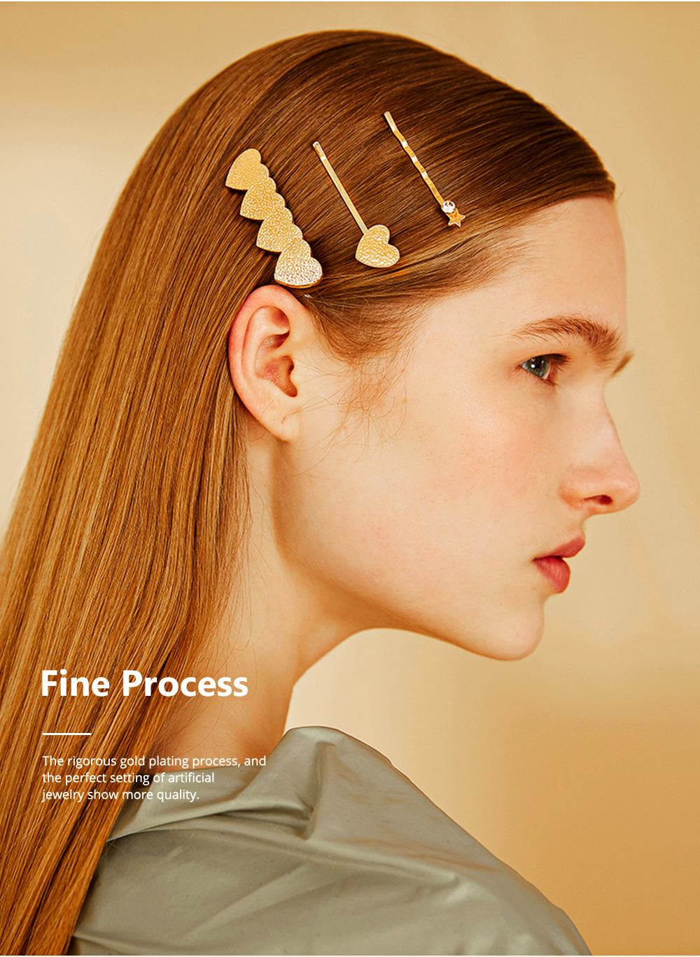 3 Pieces Metal Gold Hair Pins for Girls Women Hair Styling Barrette Accessories with Simple Round and Star Shaped 4