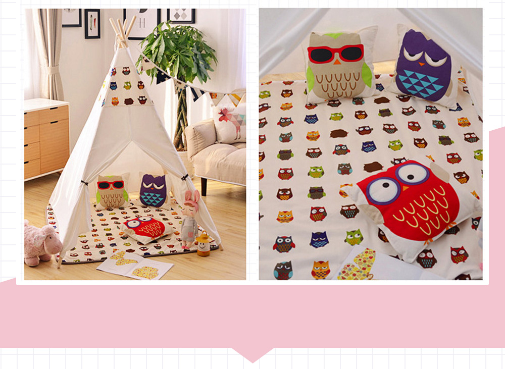 Crawling Mat for 0-2 Year's Old Baby Cute Pattern Quadrilateral Ground Mat Non-slip Hand and Machine Wash Tent Cushion 3