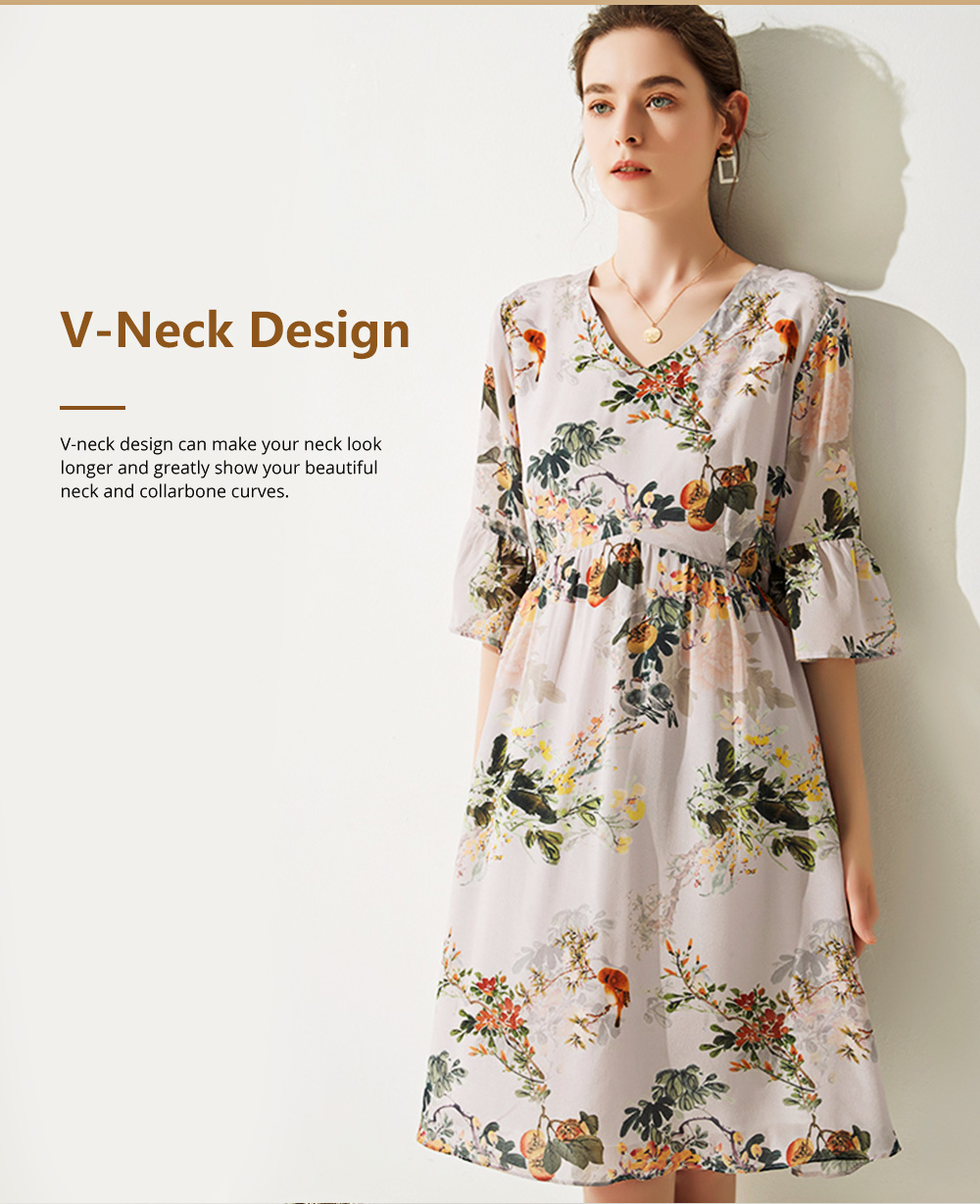 Elegant Fancy Stylish Flower Painting V-neck High-waist Three Quarter Falbala Sleeve Dress Atmosphere A-Type Ladies Dress 2