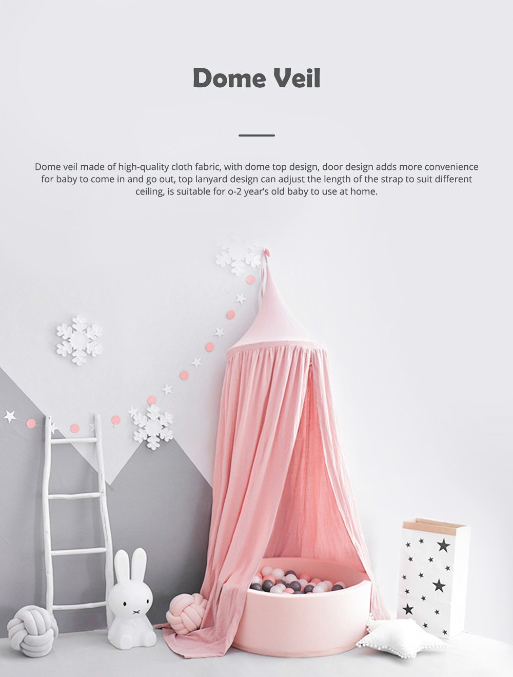 Lovely Cloth Play House Dome Veil for 0-2 Year's Old Baby Classic Color Top Lanyard Children's Tent 0