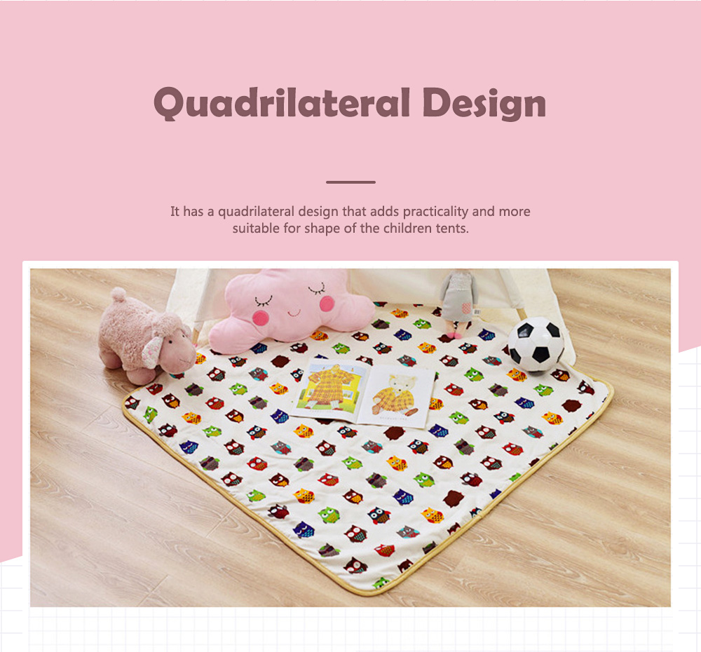 Crawling Mat for 0-2 Year's Old Baby Cute Pattern Quadrilateral Ground Mat Non-slip Hand and Machine Wash Tent Cushion 2