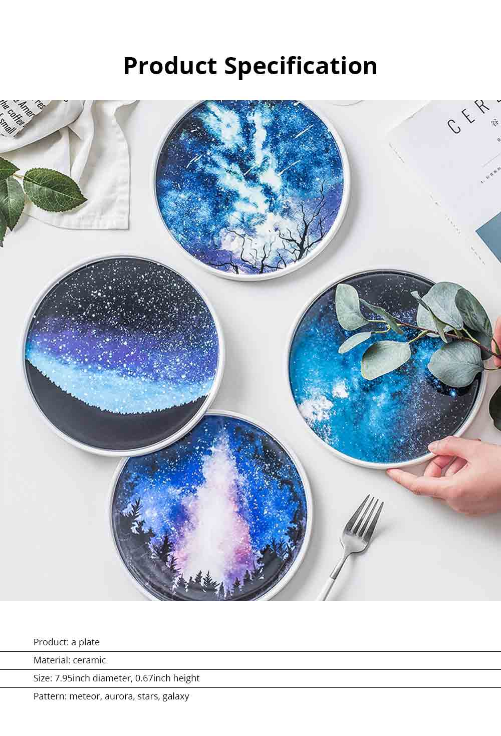 Flat Plate Personality Creative Nordic Ceramic Platter Ins Style Fashion Kitchen Accessory Cake Plate Snack Plate 6