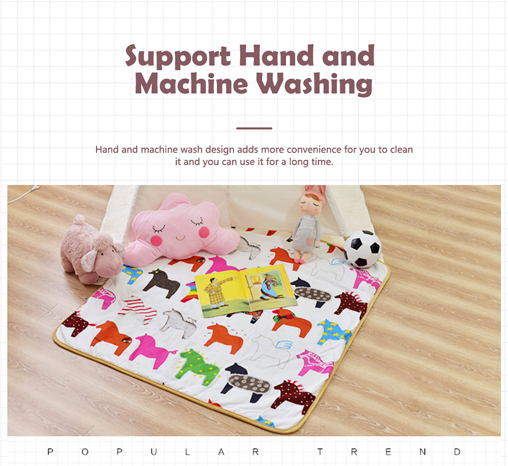 Crawling Mat for 0-2 Year's Old Baby Cute Pattern Quadrilateral Ground Mat Non-slip Hand and Machine Wash Tent Cushion 4