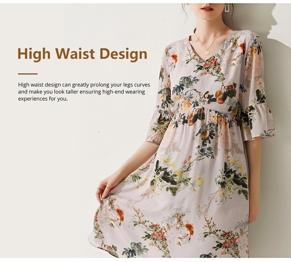 Elegant Fancy Stylish Flower Painting V-neck High-waist Three Quarter Falbala Sleeve Dress Atmosphere A-Type Ladies Dress 6