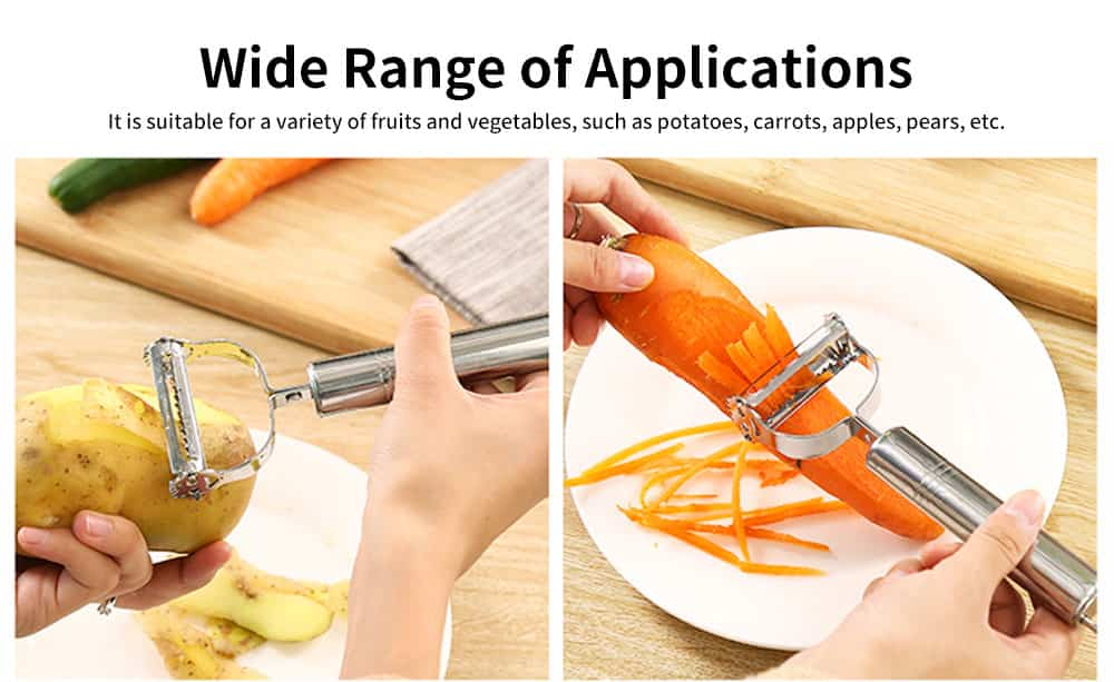 Two-in-one Paring Knife, Stainless-steel Multi-function Peeling Knife, with Peeling and Shaving Design 5