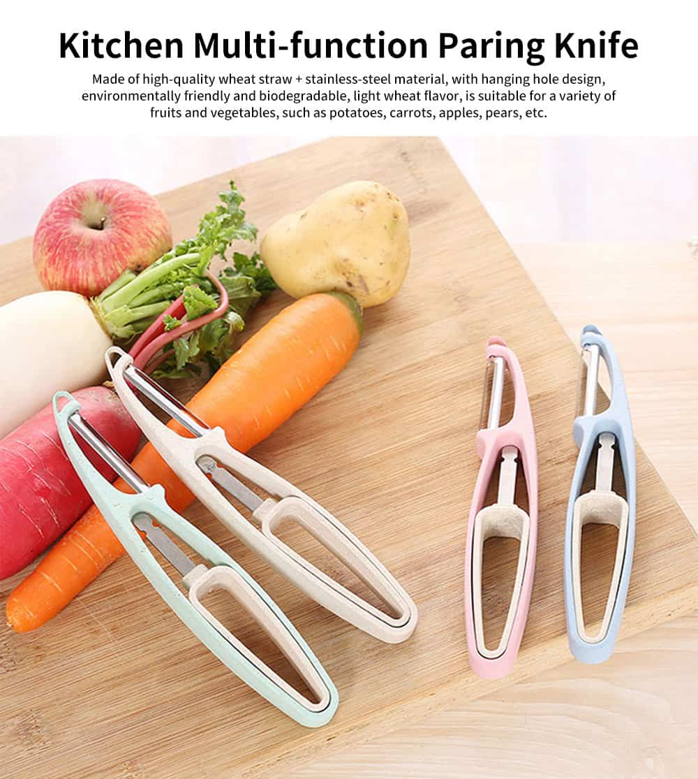 Kitchen Multi-function Paring Knife, Household Wheat Straw Peeling Artifact, for A Variety of Fruits and Vegetables 0