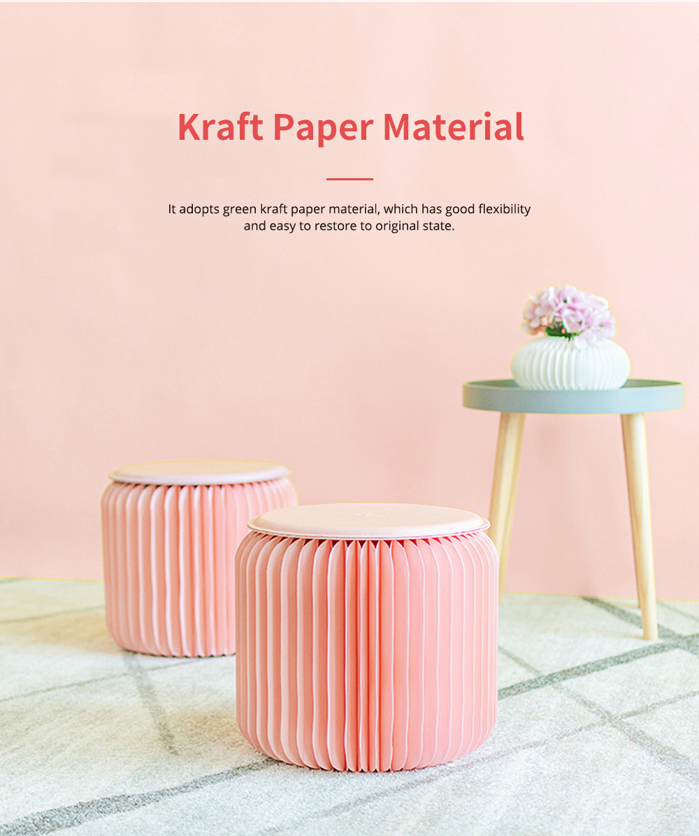 Waterproof Kraft Stool for Ladies Foldable Portable Kraft Stool with High Load Bearing Capacity Coral Pink 2