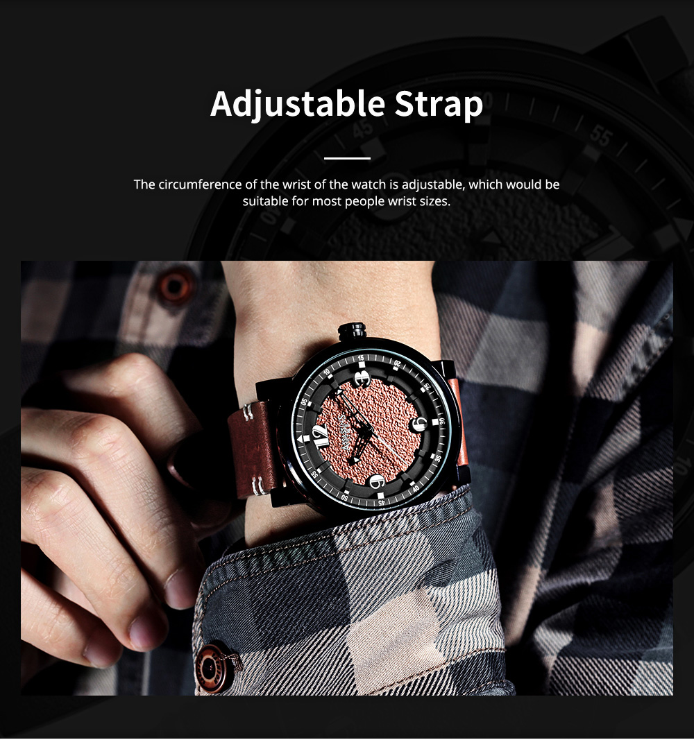 Minimalist Stylish Casual Sports Wrist Watch with Leather Strap Waterproof Watch Quartz Watch for Men Women 4