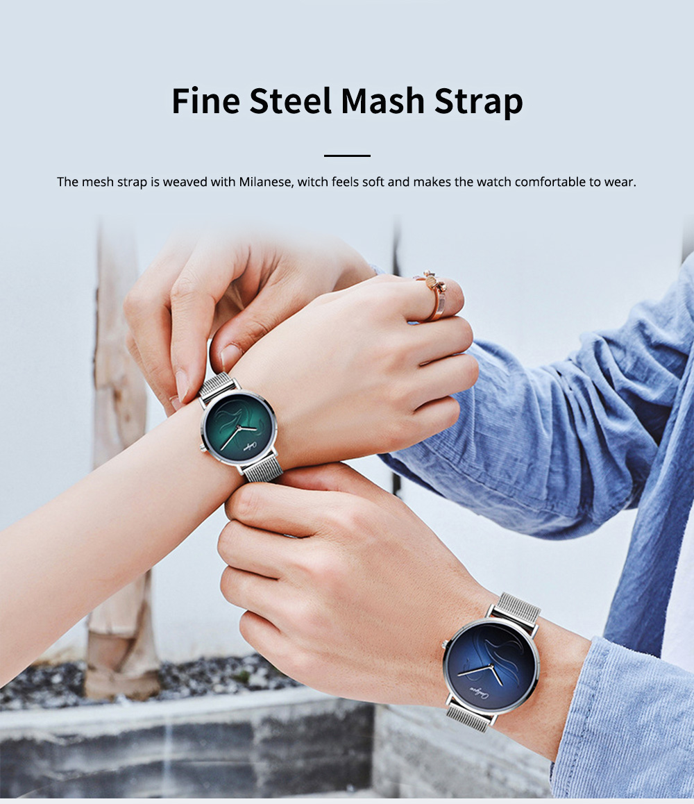 2 Pack Ultra Thin Couple Lovers Wrist Watches Set with Mesh Strap and Quartz Movement for Lovers 4