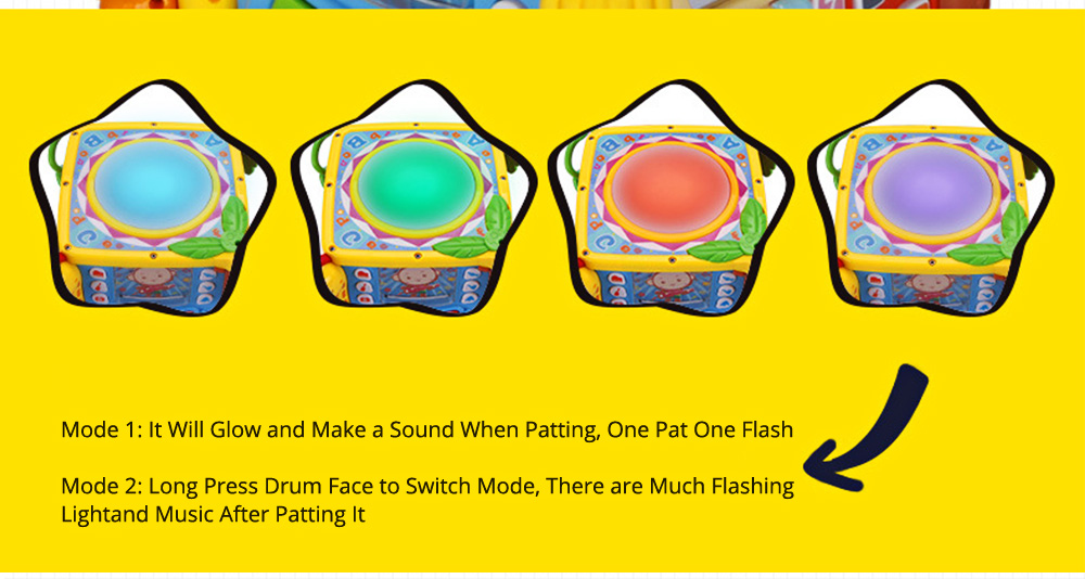 Goodway Plastic Hand Drums with Six Face Children's Educational Toys for Language Skills and Hand Flexibility Training 4