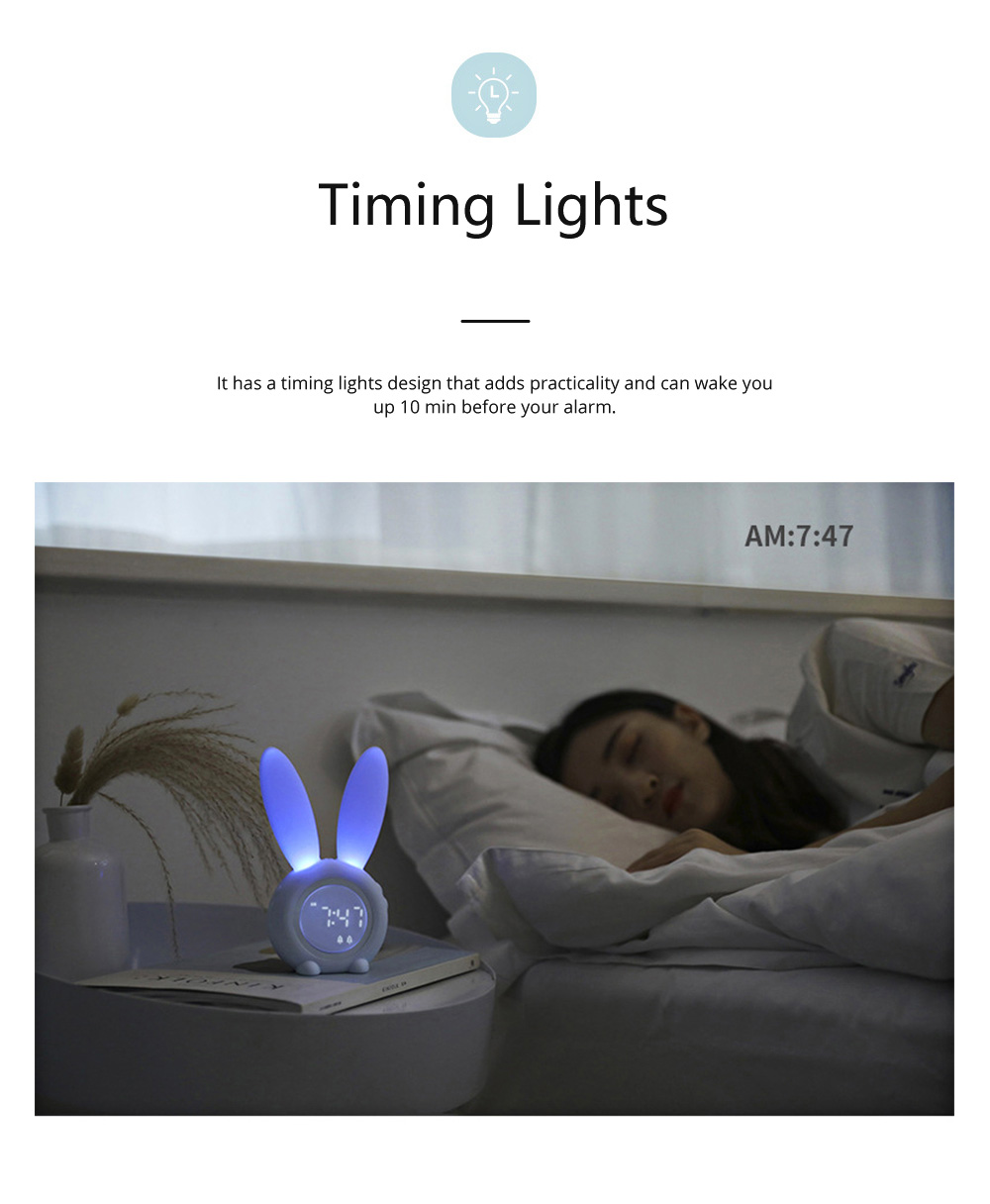 Rabbit Electronic Alarm Clock Timing Subdued Lights Magnetic Suction LED Clock Good Endurance Wake Up Tools 2