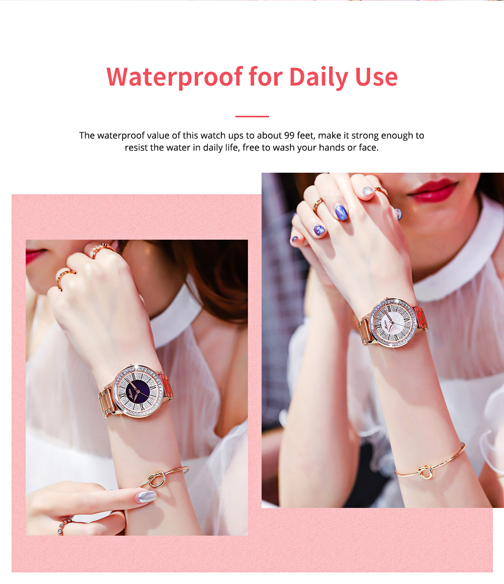 MEIBIN Multifunctional Watch for Women Luxury with Accented Crystal Dial and Steel Strap Waterproof 7