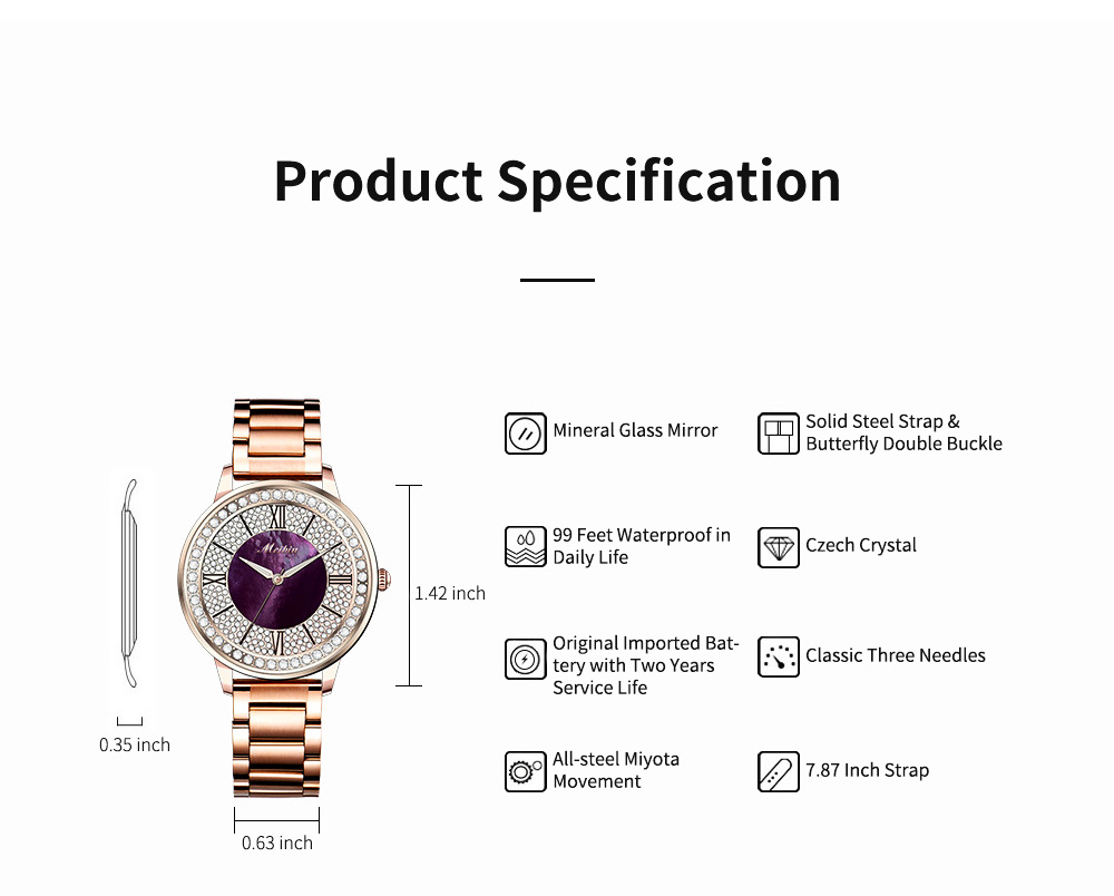 MEIBIN Multifunctional Watch for Women Luxury with Accented Crystal Dial and Steel Strap Waterproof 8