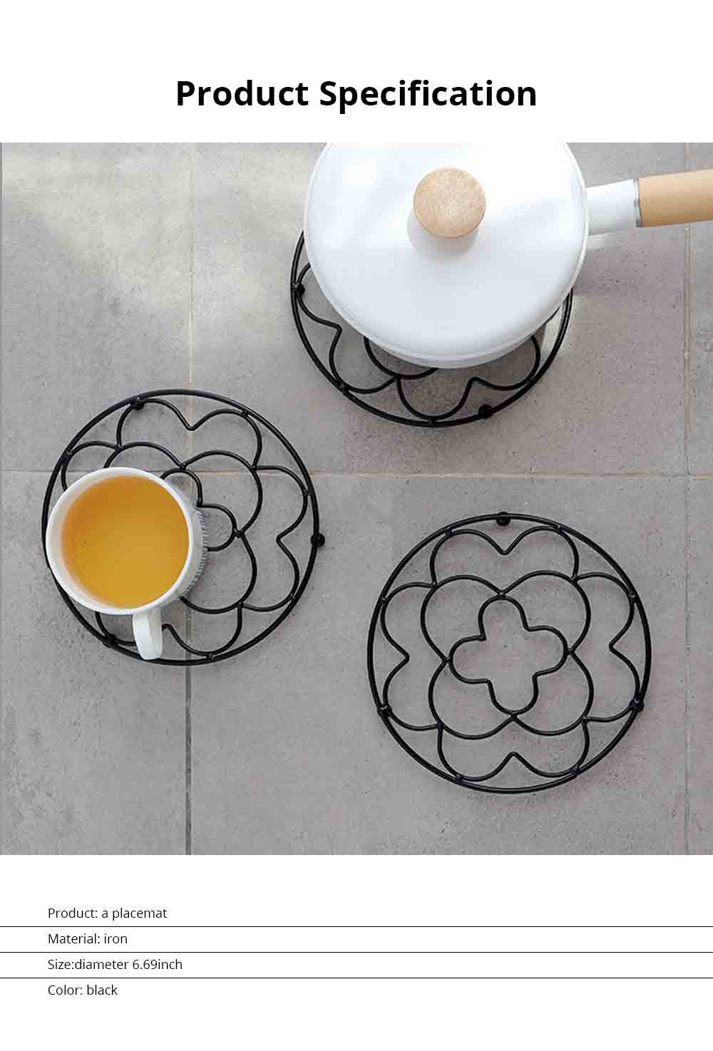 Placemat Creative Anti-hot Iron Round Table Pot Mat Kitchen Accessory Simple Casserole Pad Bowl Mat Coaster 6