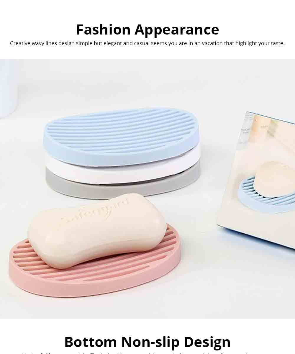 Nail Free Soap Box, Creative Simple Non-toxic Odorless Silicone Soap Holder with Draining, Soap Tray for Kitchen Bathroom Kitchen 3