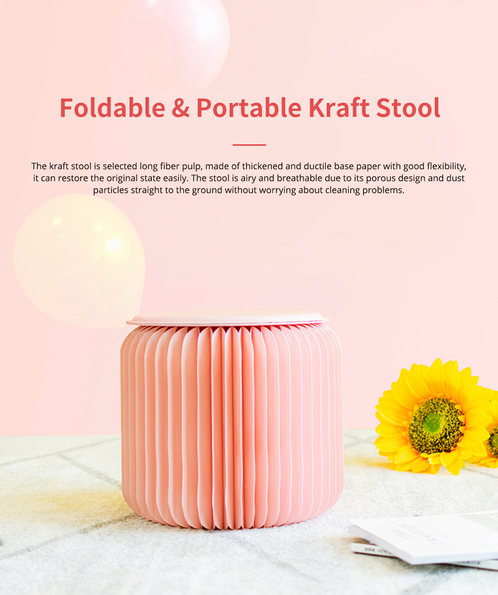 Waterproof Kraft Stool for Ladies Foldable Portable Kraft Stool with High Load Bearing Capacity Coral Pink 0