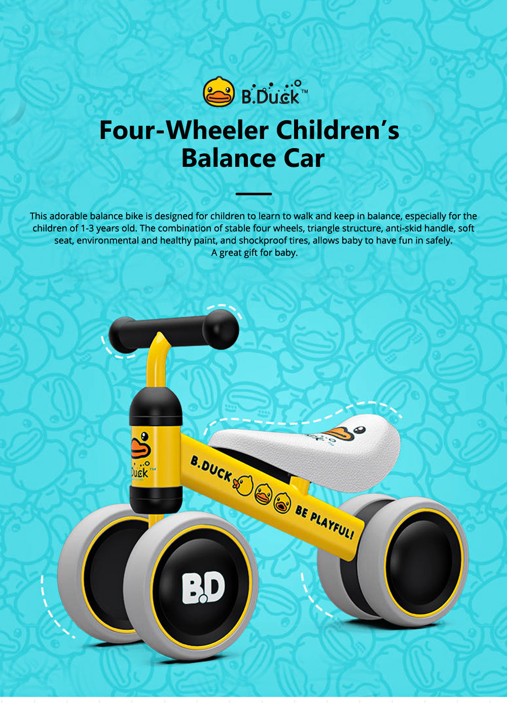Four-Wheeler Balance Bike for 1-3 Years Old Children Without Pedals Boys and Girls Baby Toy Walker Scooter 0