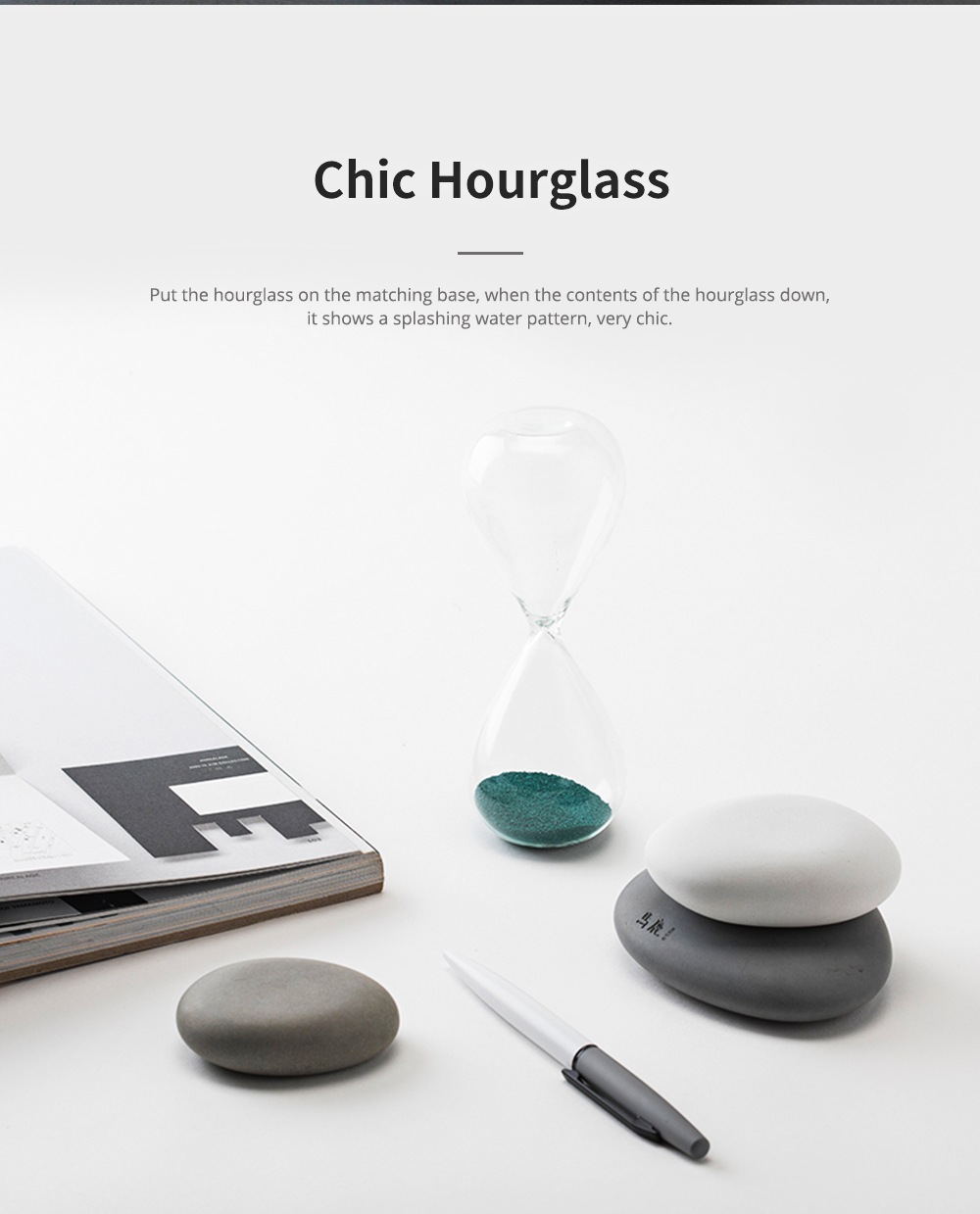 Round Pebble Hourglass Creative Personalized Desktop Timer for Decoration Creative Home Furnishings 4