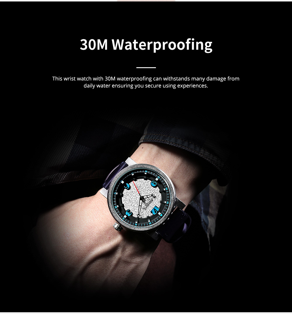 Minimalist Stylish Casual Sports Wrist Watch with Leather Strap Waterproof Watch Quartz Watch for Men Women 6