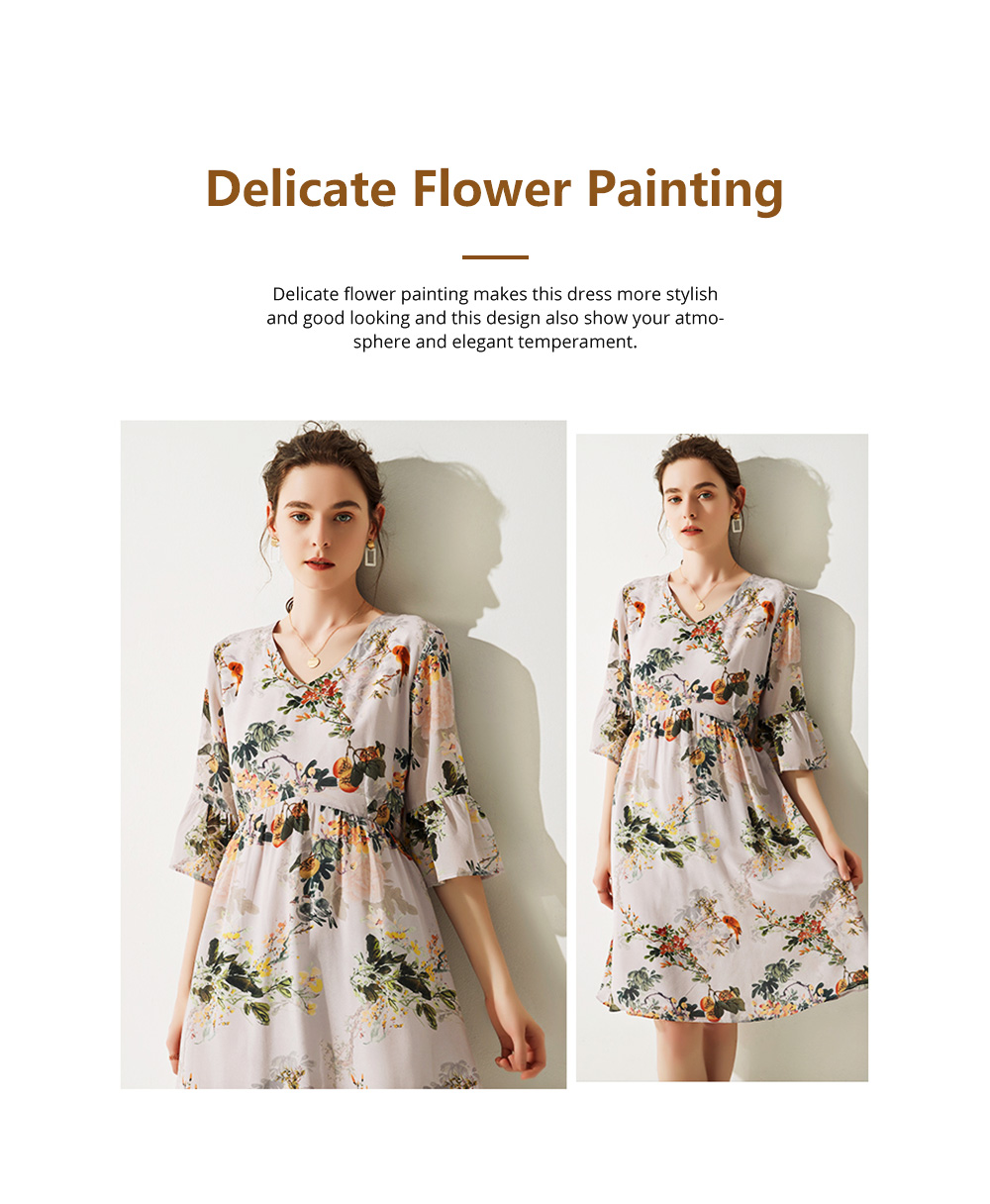 Elegant Fancy Stylish Flower Painting V-neck High-waist Three Quarter Falbala Sleeve Dress Atmosphere A-Type Ladies Dress 5