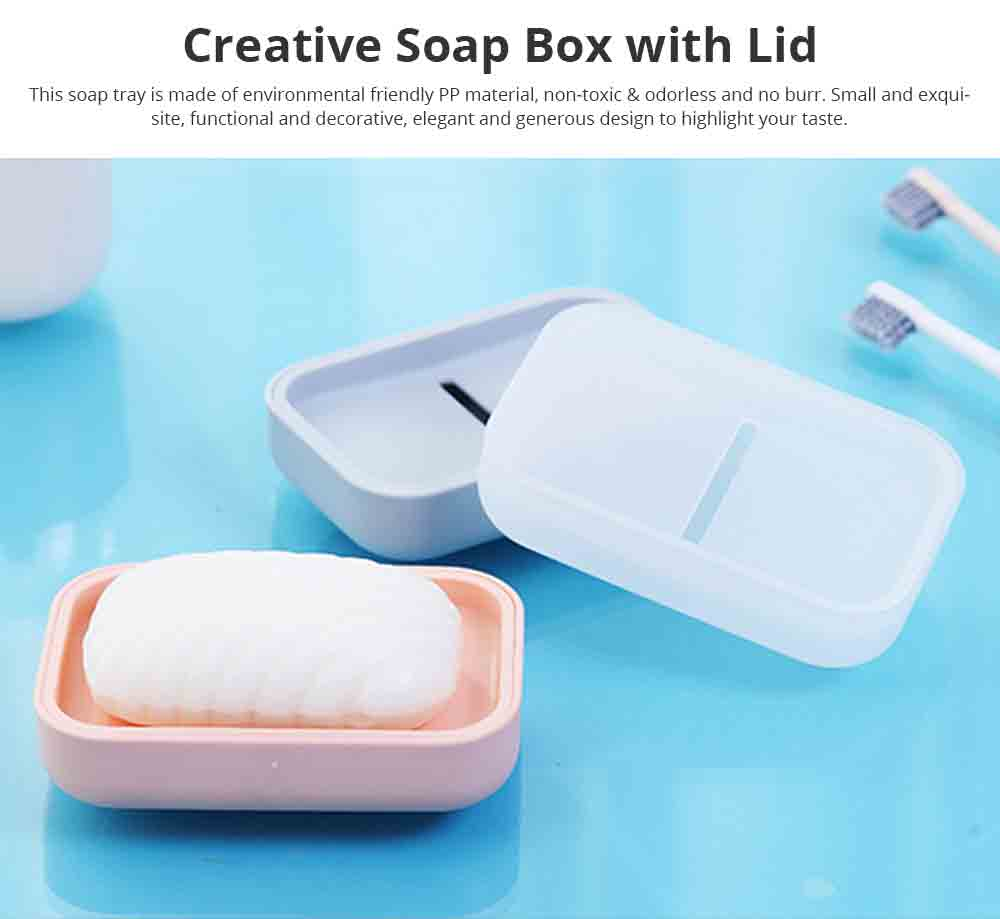 Creative Soap Box with Lid, Soap Holder with Drain Design, Portable Japanese Style Bathroom Accessory Double Soap Box Tray 0