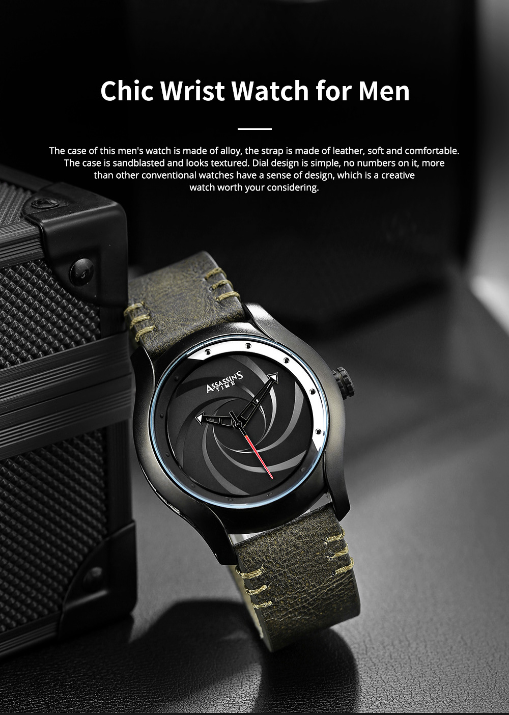 Chic Wrist Watch with Leather Belt for Men Unique Personality Tornado Design Dial Waterproof Watch 0