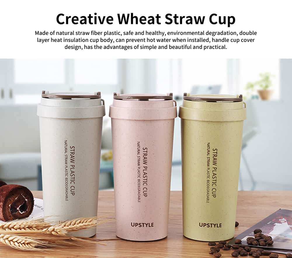Wheat Straw Cup, Female Student Fresh Creative Simple Cup, Personalized Plastic Portable Cup 0
