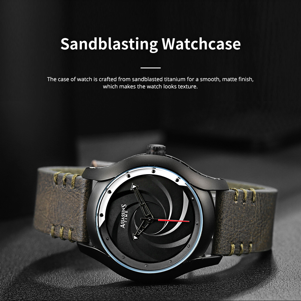 Chic Wrist Watch with Leather Belt for Men Unique Personality Tornado Design Dial Waterproof Watch 2