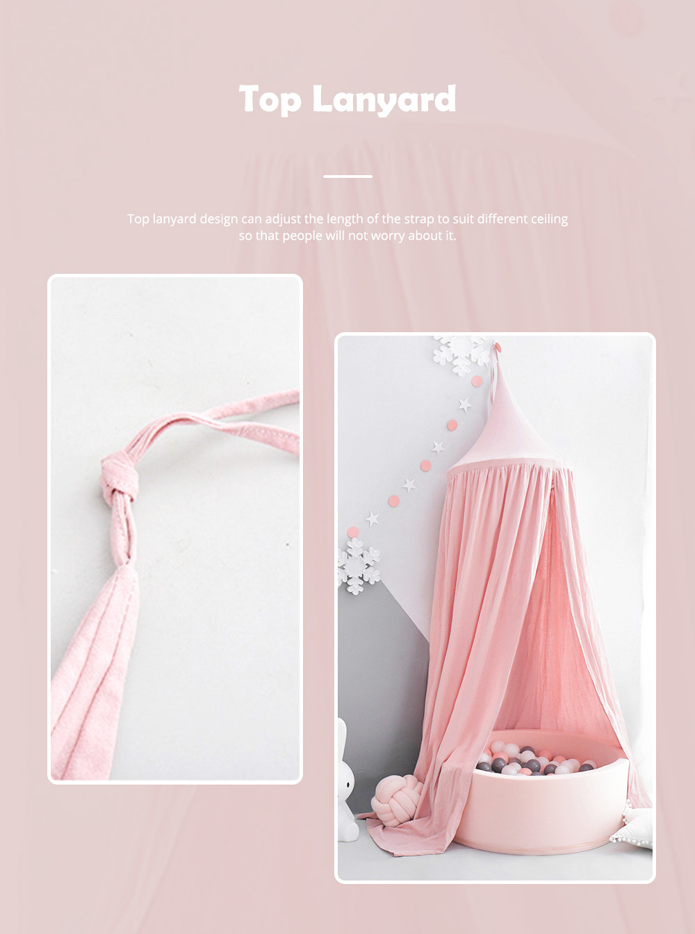 Lovely Cloth Play House Dome Veil for 0-2 Year's Old Baby Classic Color Top Lanyard Children's Tent 3