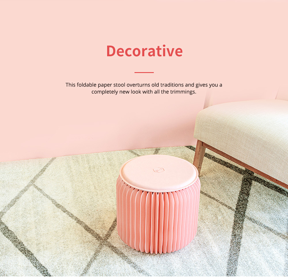 Waterproof Kraft Stool for Ladies Foldable Portable Kraft Stool with High Load Bearing Capacity Coral Pink 7