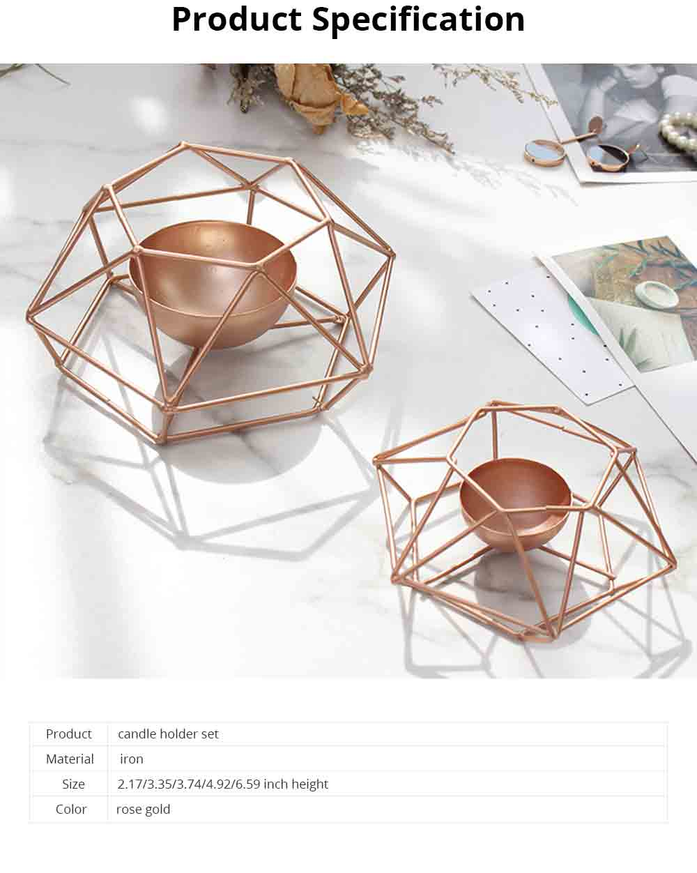 Nordic Geometric Wrought Iron Candlestick Creative Home Bedroom Room Decoration Shooting Props Romantic Candle Holder 6