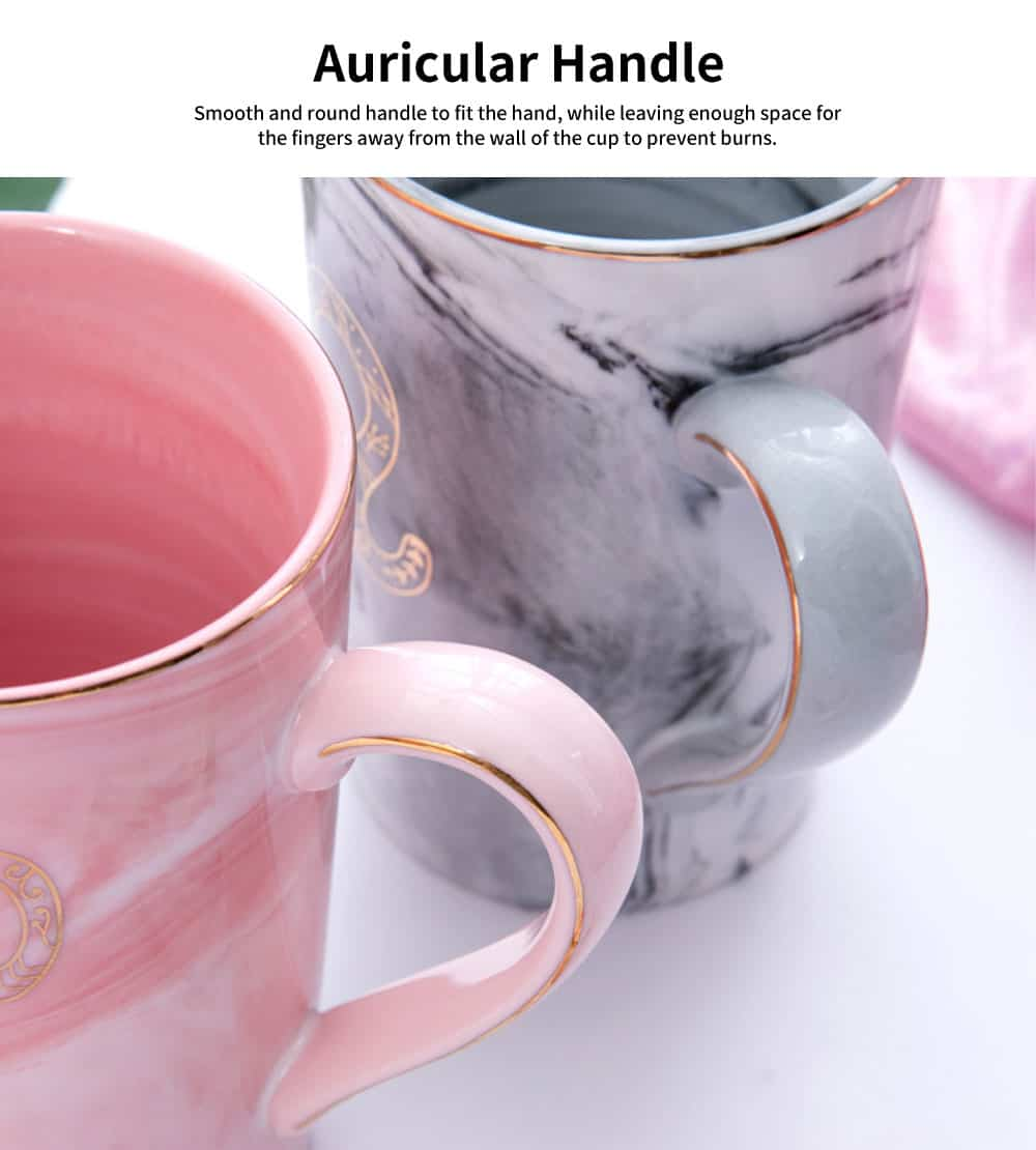 Artistic Zodiac Mug, Ceramic Water Cup with Cover Spoon, Nordic Couple Creative Coffee Cup 3